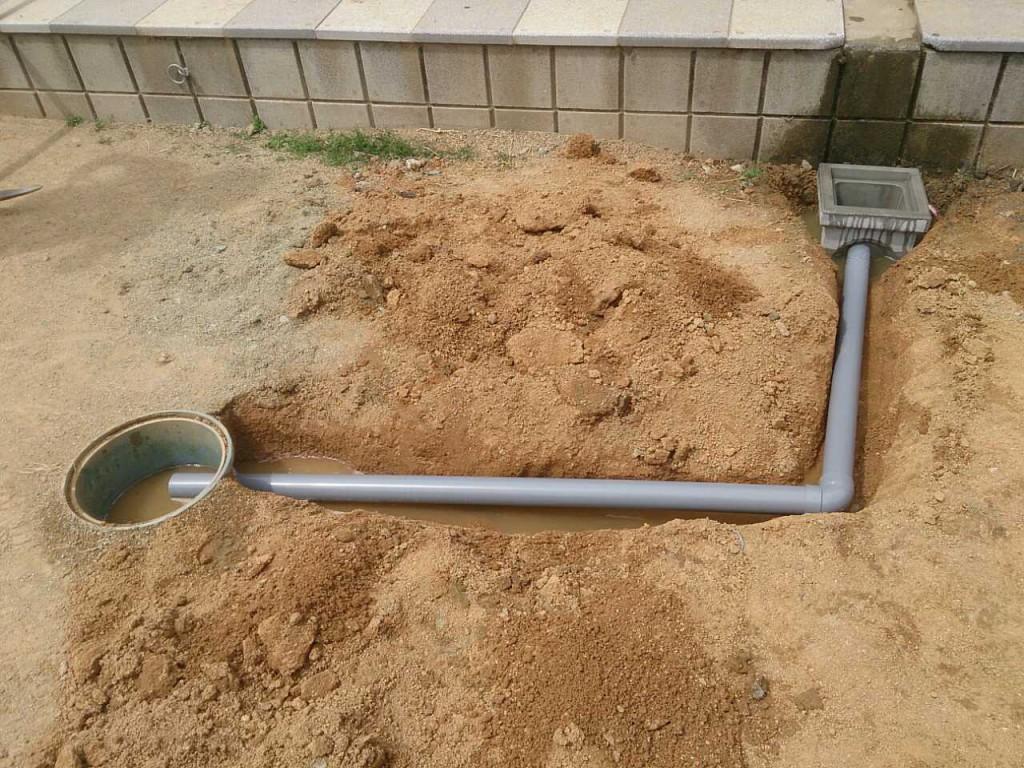 自宅の庭に排水口の設置